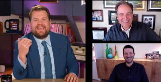 James Corden, Jim Nantz, and Tony Romo provide upfront information for ViacomCBS.