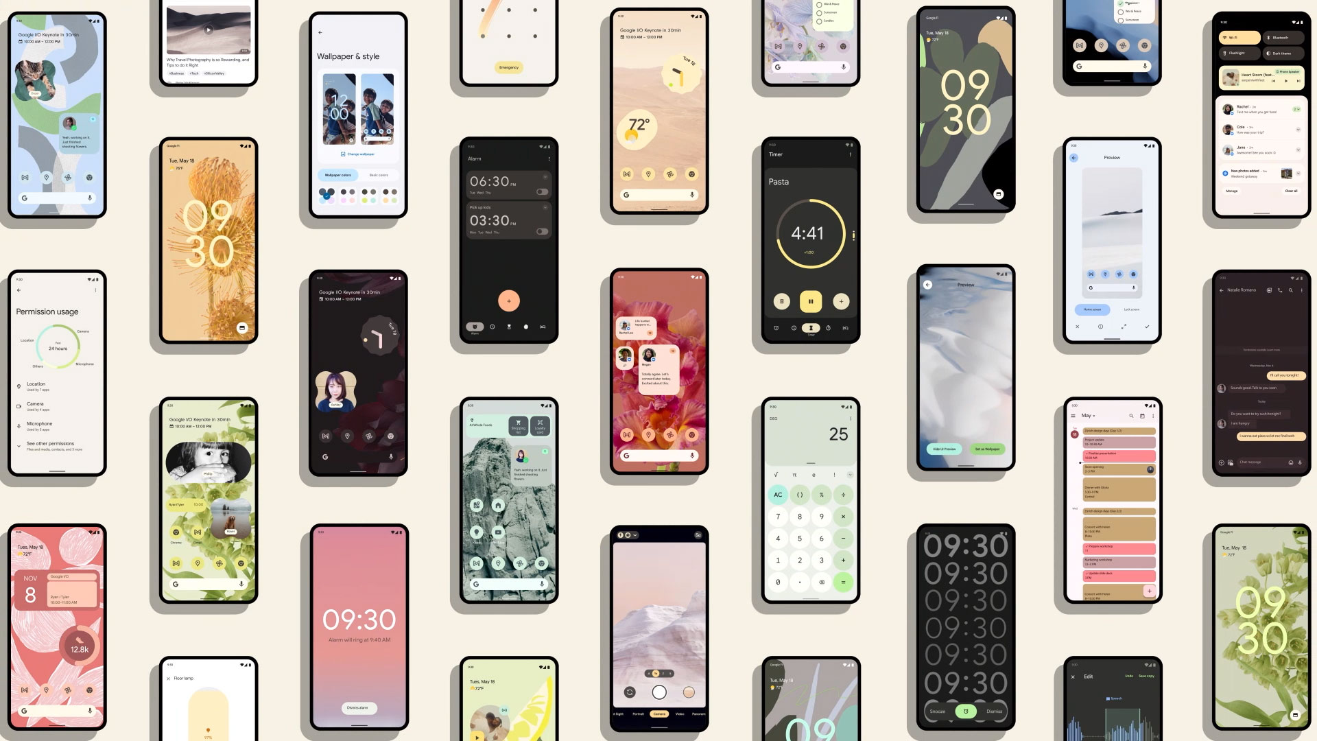 Various Android 12 screens shown on numerous handsets
