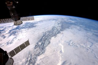 European Space Agency astronaut Thomas Pesquet captured this photo of the Rocky Mountains from the International Space Station on Dec. 25, 2016.