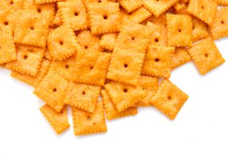 Square cheese crackers.