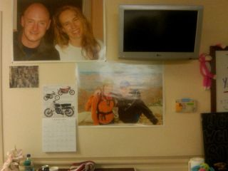 Photos of loved ones and other inspiration adorn Congresswoman Giffords' hospital room.