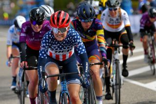 BERG NETHERLANDS APRIL 18 Ruth Winder of United States and Team Trek Segafredo during the 7th Amstel Gold Race 2021 Womens Elite a 1163km race from Valkenburg to Berg en Terblijt Breakaway Amstelgoldrace amstelgoldrace UCIWWT on April 18 2021 in Berg Netherlands Photo by Luc ClaessenGetty Images