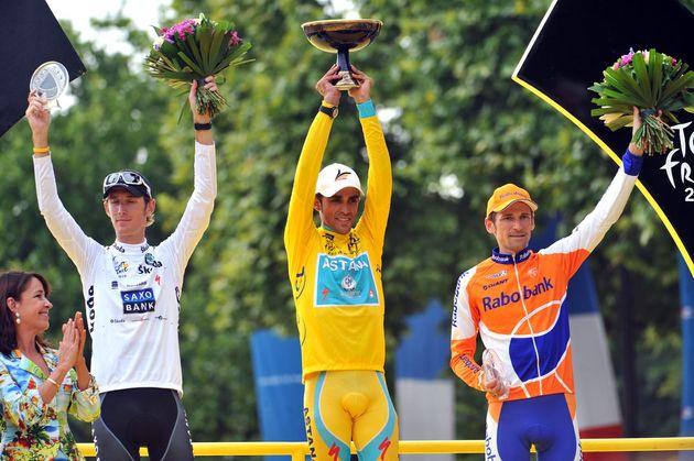 Andy Schleck, Alberto Contador, Denis Menchov, Tour de France 2010, stage 20