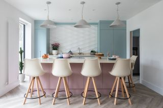 kitchen ideas with pink and blue cabinets and textured tiles