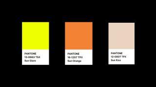 Three pantone colours - Sun Glare, Sun Orange and Sun Kiss.