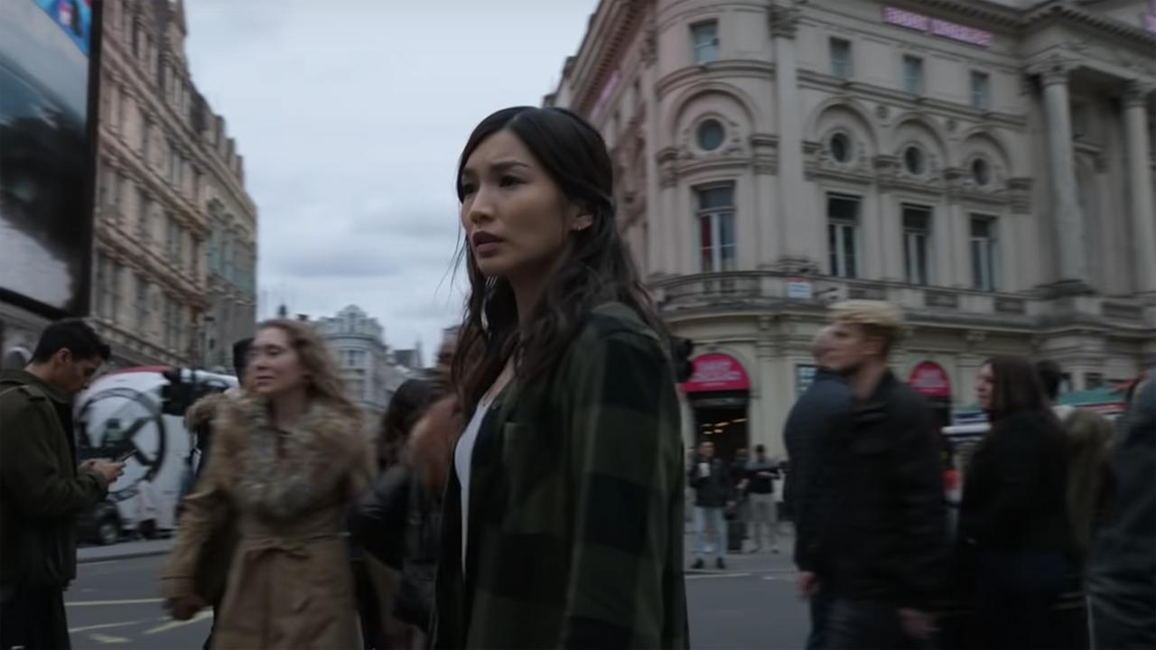 Gemma Chan as Sersi looking worried in Marvel's Eternals