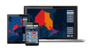 Bannister Lake HTML5-based web widgets use multiple static and real-time data sources to provide online and mobile audiences with map-based visualizations to dig deeper into contextual election data.