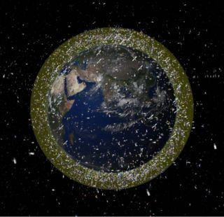 space debris density illustration