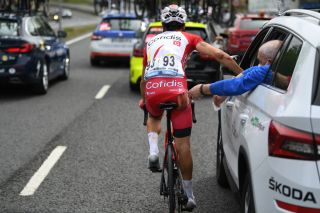 ONDARROA SPAIN APRIL 09 Simon Geschke of Germany and Team Cofidis during the 60th ItzuliaVuelta Ciclista Pais Vasco 2021 Stage 5 a 1602km stage from Hondarribia to Ondarroa Injury Crash Medical Detail view itzulia ehitzulia on April 09 2021 in Ondarroa Spain Photo by David RamosGetty Images