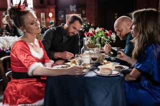 EastEnders Linda Carter goes all out for the 'Ball and Change' winners dinner in Eastenders