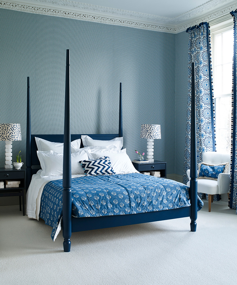Indigo bedroom with small-scale backdrop | Homes & Gardens