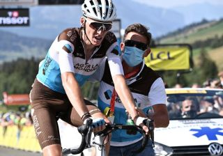 Team AG2R La Mondiale rider Frances Romain Bardet reacts at the end of the fifth stage of the 72nd edition of the Criterium du Dauphine cycling race 153 km between Megeve and Megeve on August 16 2020 Photo by AnneChristine POUJOULAT AFP Photo by ANNECHRISTINE POUJOULATAFP via Getty Images