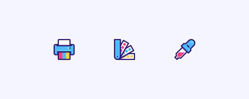 Three office icons