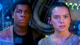 John Boyega (Finn) and Daisy Ridley (Rey) in Star Wars: The Force Awakens