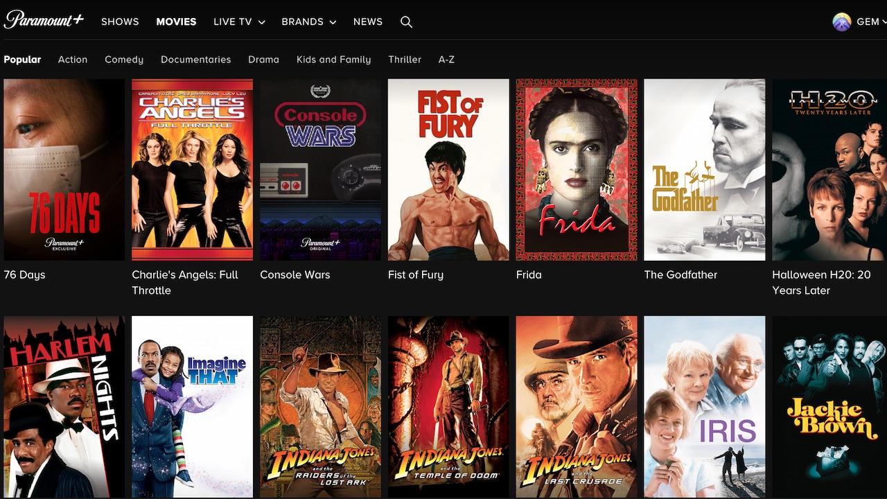 Paramount Plus content home screen