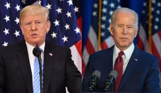 Trump, Biden each before American flags.