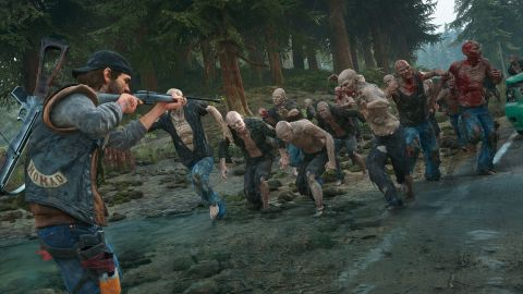 Deacon points his gun at a large swarm of zombies