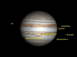 The shadows of Europa and Ganymede will cross Jupiter's face simultaneously while the Red Spot gets a black eye.