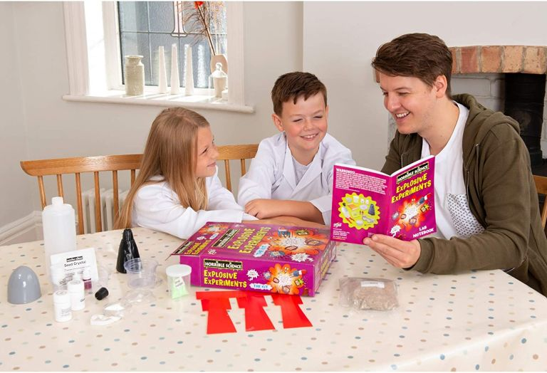Fun activities for kids: Galt Toys Horrible Science Explosive Experiments: girl, boy and man playing with the kit on table