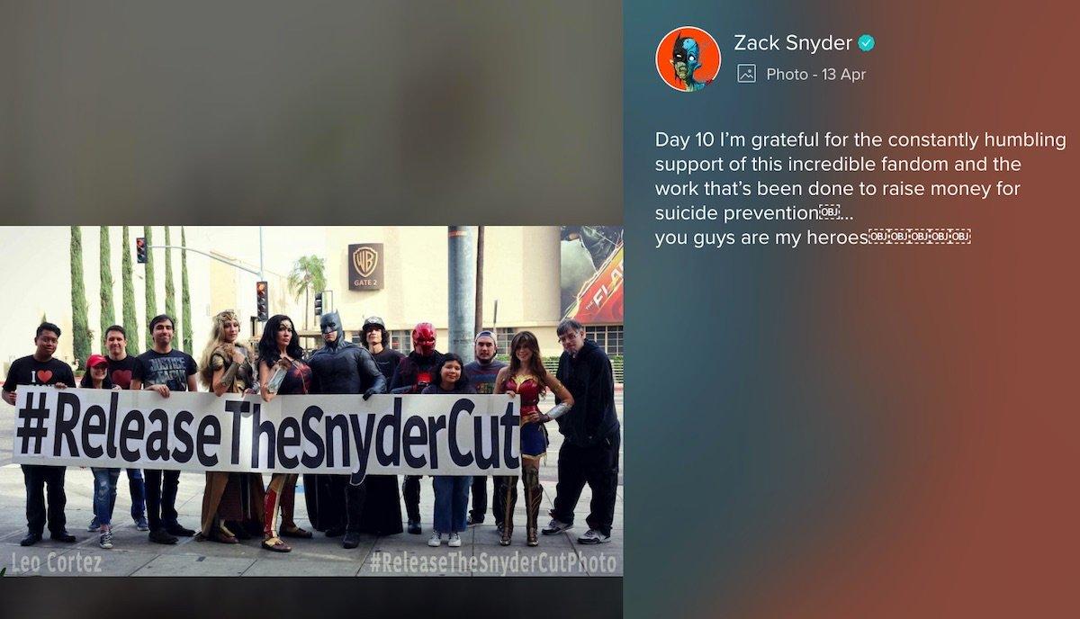 Zack Snyder's message on Vero