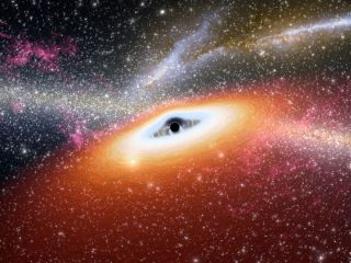Illustration of a young black hole similar to two distant dust-free quasars.