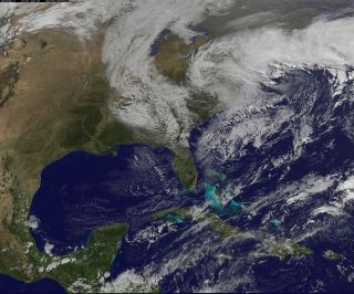 NOAA's GOES-13 satellite visible image of the Nor'easter on Nov. 7, 2012