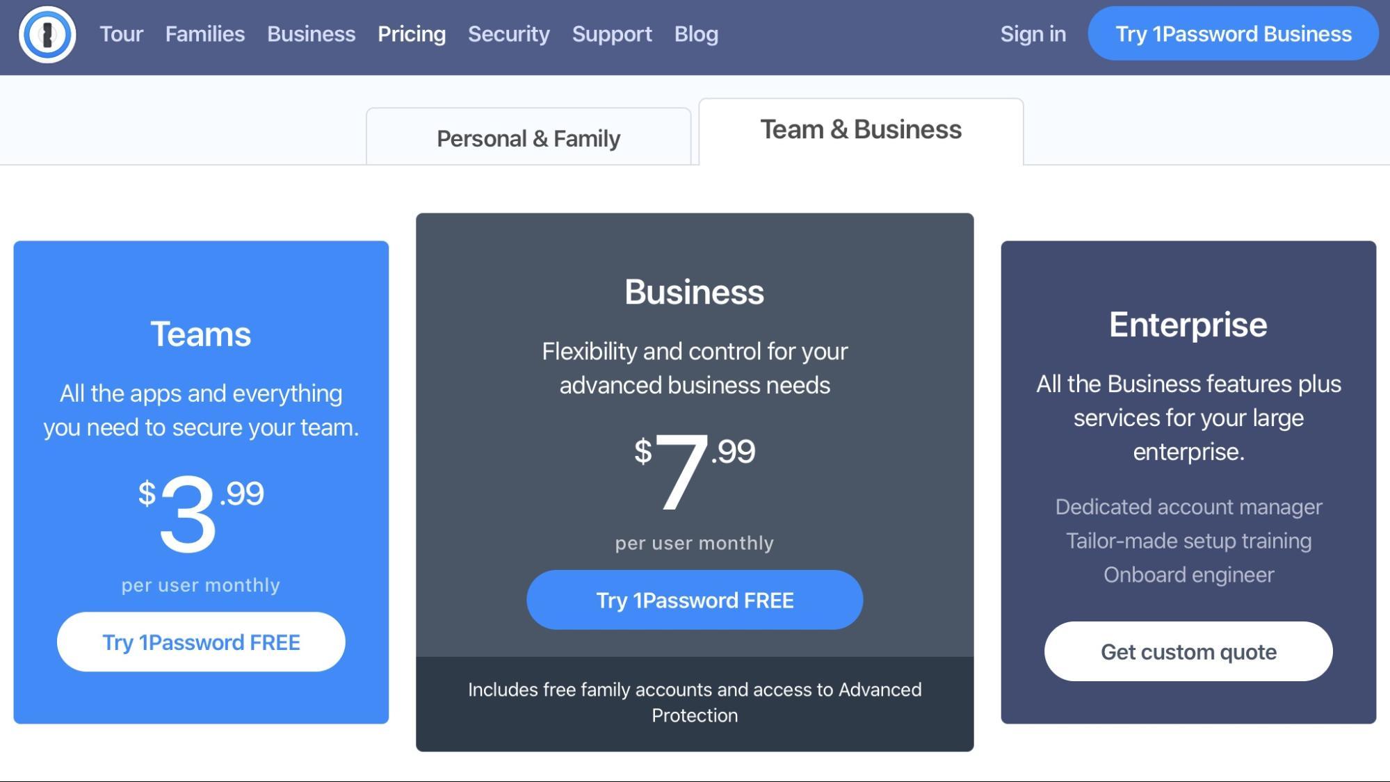 1Password team subscriptions start at $3.99 per user per month.