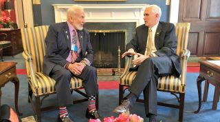 Buzz Aldrin and Mike Pence