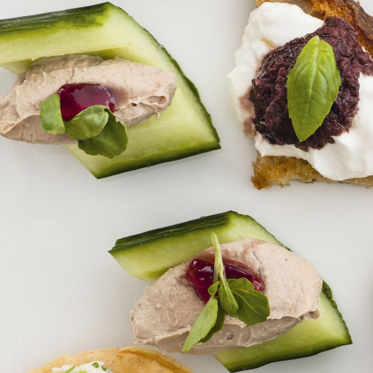 Chicken liver pate in cucumber boats