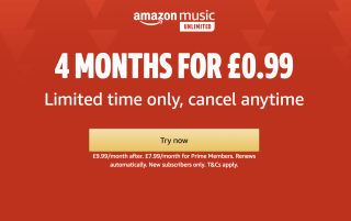 4 months of Amazon Music Unlimited for just 99p