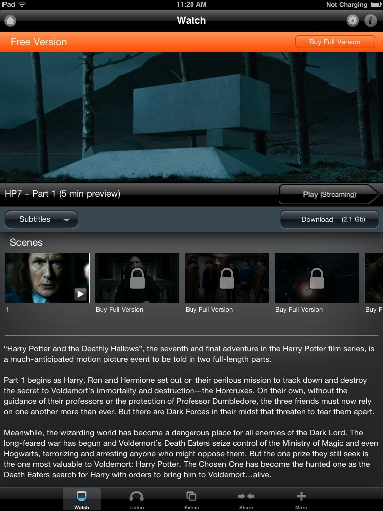 Deathly Hallows Part 1, Due Date Added To Warners App Store #17183
