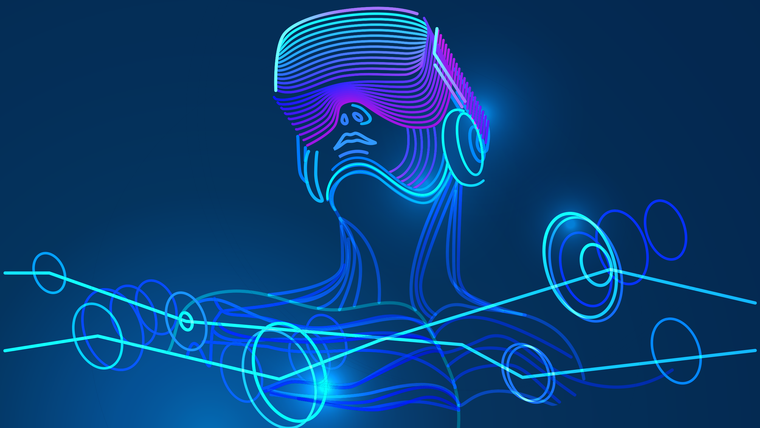 Image of a person wearing a VR headset surrounded by circles