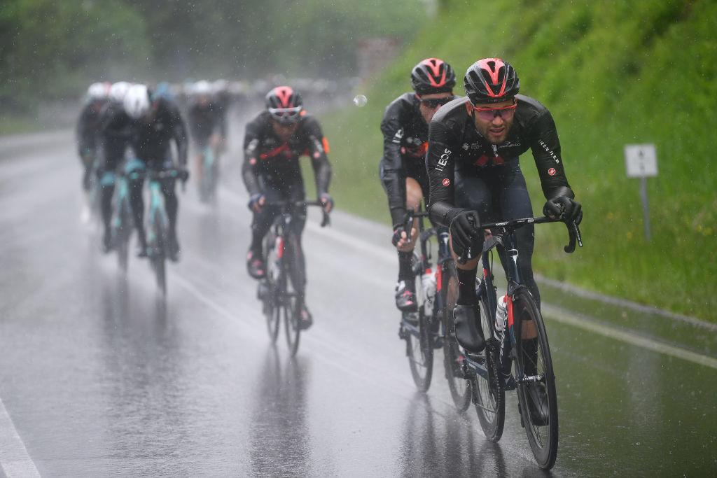 Filippo Ganna leads the peloton at the Giro d'Italia