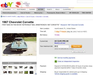 The eBay listing (item no. 251051174912) for a 1967 Chevrolet Corvette has attracted bids nearing $250,000 because its seller says it was owned by Neil Armstrong.