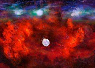 An artist's illustration of the dense neutron star believed to be at the dusty core of Supernova 1987A.