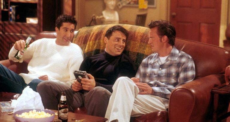 """David Schwimmer, as Ross, Matt LeBlanc, as Joey, and Matthew Perry as Chandler act in a scene from the television comedy """"Friends"""""""