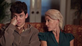 Asa Butterfield as Otis and Gillian Anderson as Otis's mother Jean in Netflix's 'Sex Education'