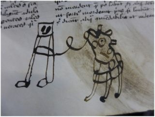 Medieval doodle of person with cow or horse