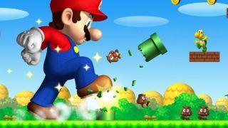 Big Mario stomping in Super Mario Bros