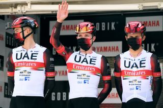 CALELLA SPAIN MARCH 22 Start Podium Marc Hirschi of Switzerland and UAE Team Emirates during the 100th Volta Ciclista a Catalunya 2021 Stage 1 a 1784km stage from Calella to Calella Mask Covid safety measures Team Presentation VoltaCatalunya100 on March 22 2021 in Calella Spain Photo by David RamosGetty Images