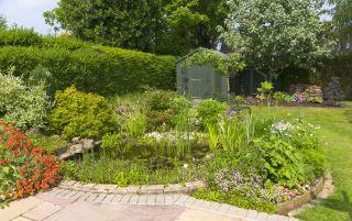 a traditional garden in summertime