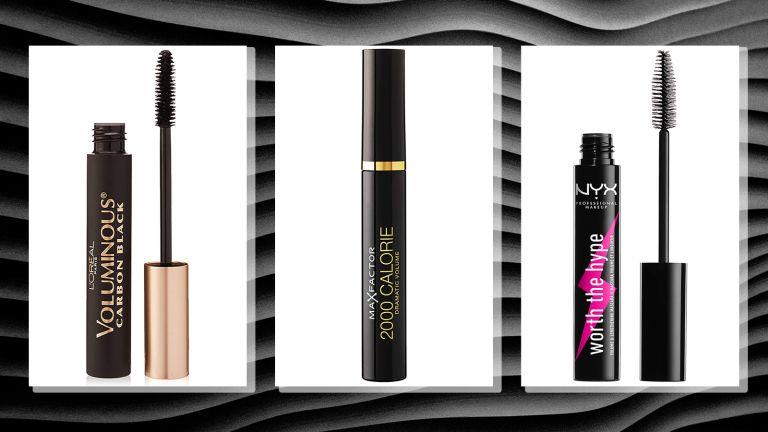 three of w&h's best drugstore mascaras picks on a stripy black background