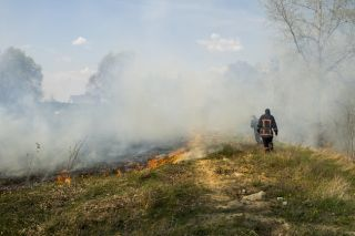 Firefighters breathe in smoke from a wildfire.