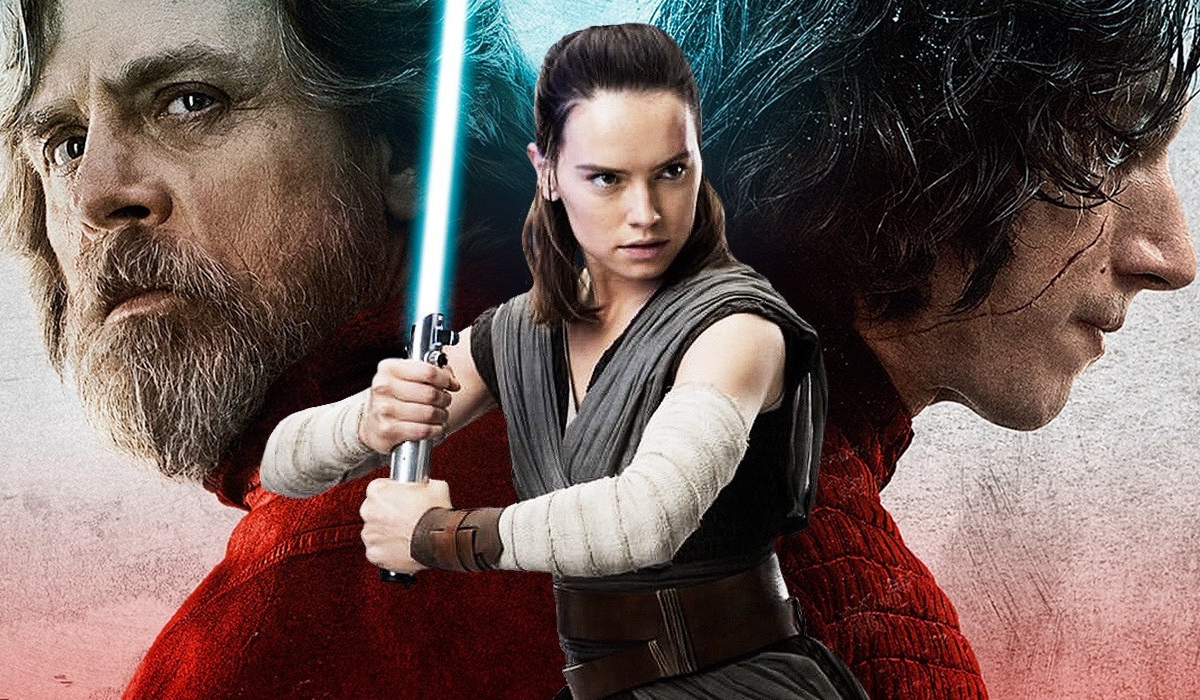 Star Wars: The Last Jedi Luke and Kylo with Rey standing in front of them, with a lightsaber