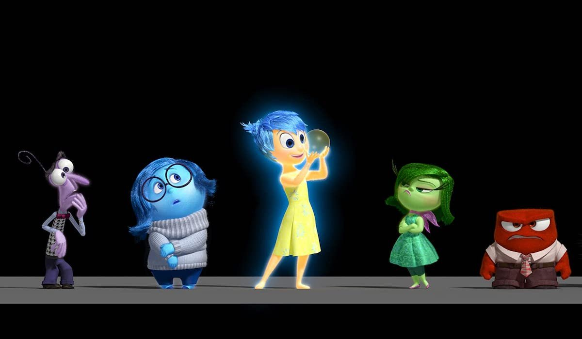 the emotions in Inside Out, Fear, Sadness, Joy, Disgust and Anger