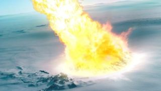 An artist's rendering of a massive airburst barreling into Antarctica - looks like a big plume of fire crashing into the ice