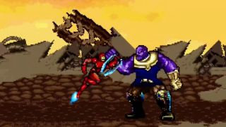 Thanos and Iron Man battling on Titan in an Avengers: Infinity War 16-bit remake