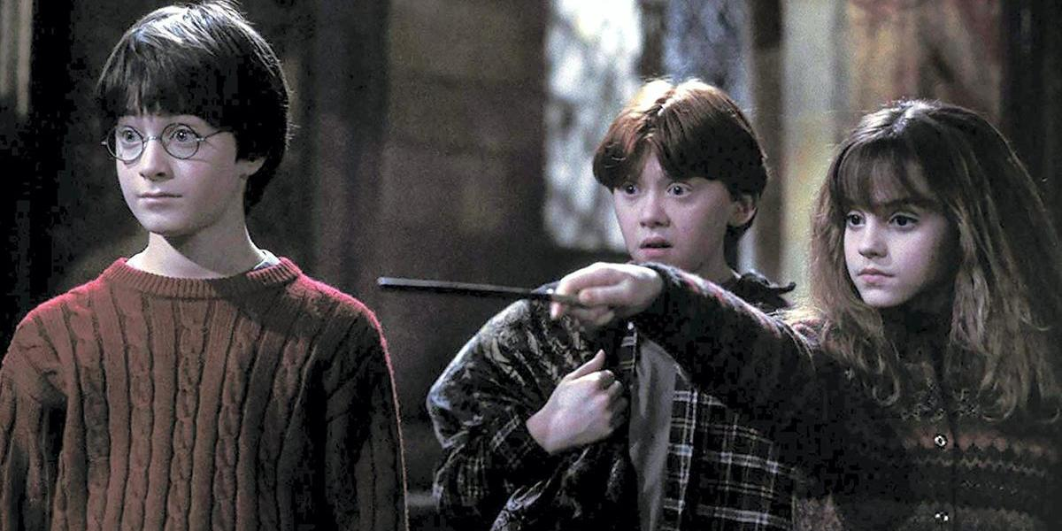 Daniel Radcliffe, Rupert Grint and Emma Watson in Harry Potter and the Sorcerer's Stone movie