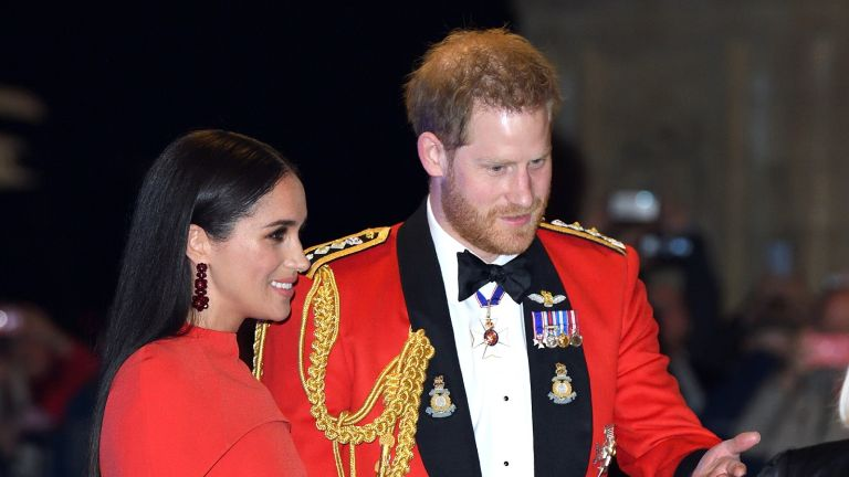 H&M Simone Rocha, Prince Harry, Duke of Sussex and Meghan, Duchess of Sussex attend the Mountbatten Festival of Music at Royal Albert Hall on March 07, 2020 in London, England