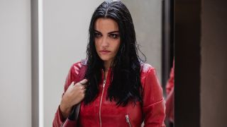 Maite Perroni in El Juego De Las Llaves looking angry with smeared mascara and a red jacket